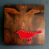 Red Bird on Dark Walnut - Modern String Art Tablet