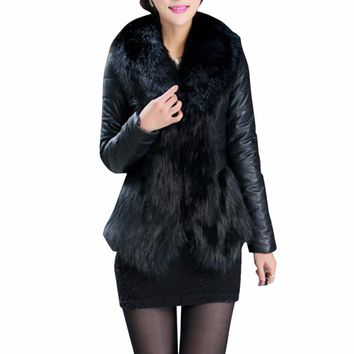 Winter Fox Faux Fur Jacket With Collar For Women Long Sleeve Faux Fur Coat Outwear Black Bontjas Manteau Fourrure Femme 3XL