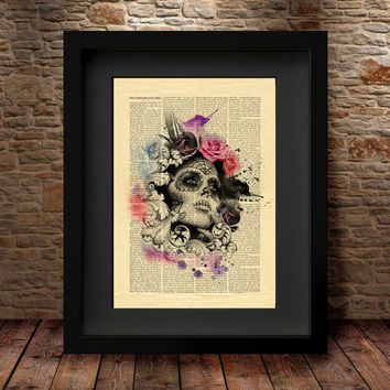 Woman With Roses and Bird - Rose Illustration gothic decor cool Rose print goth art print Rose print Rose wall art dark valentines gift -37