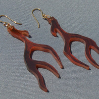 Tortoise Shell Antler Earrings - Hand Cut
