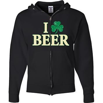 St Patricks Day Full Zip Hoodie I Love Beer