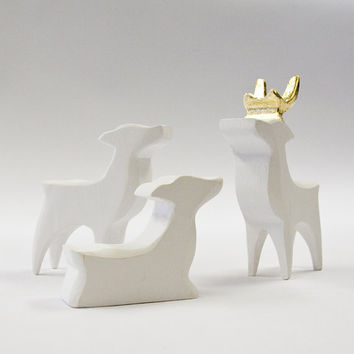 Family of Carved Wooden Reindeer with Gold Leafed Antlers White