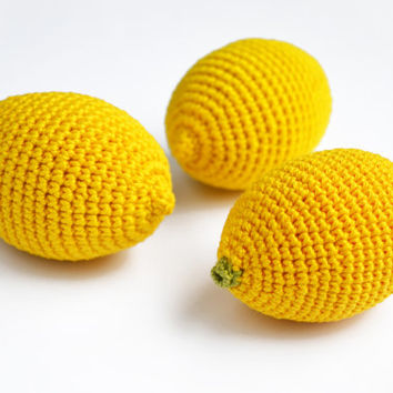 Crochet Lemon (1pc) - Play Food - Teething Toy