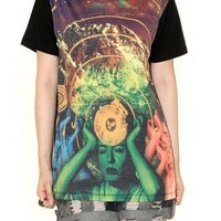 Telepathy Womens Sci-Fi Shirt Indie Pop Rock Colorful T-Shirt Size M