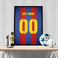 FC Barcelona Soccer Jersey Poster - Print Personalized Select ANY Name & ANY Number