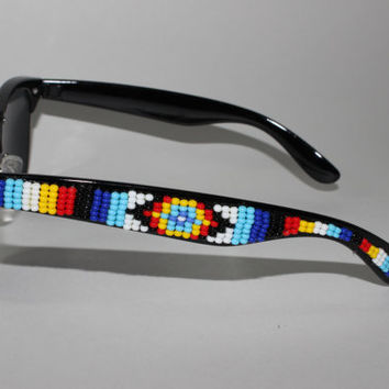 Native American tribal print beaded  wayfarer by brownbeadednet