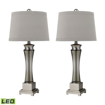 D2339/s2-LED Trump Home Onassis LED Table Lamps in Nickel Finish - Set of 2 - Free Shipping!