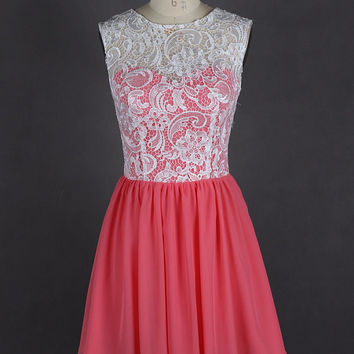 Short Coral Bridesmaid Dress Chiffon White Lace Bridesmaid Dress Two Tone Prom Dress Homecoming Dress Party Dress