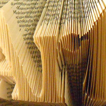 Folded book Art -  Art - Origami  Handmade Sculpture