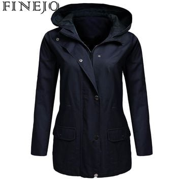 Trendy FINEJO Women Military Jacket with Pocket Spring Autumn Solid Drawstring Hooded Zip-Up Winter Zip Front Long Sleeve Coat AT_94_13