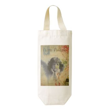 French Postcard Wine Bag