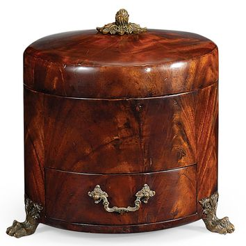 Crotch mahogany jewellery round box