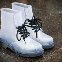 Rosette Spectrum-01 Jelly Lace Up Rain Boot (Black) - Shoes 4 U Las Vegas