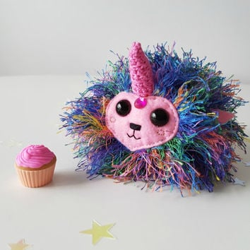 Unicorn Puff - Rainbow Unicorn Doll - Crochet Amigurumi Pocket Pet - Imaginary Play - WhimsyHen Toy - Christmas Gift