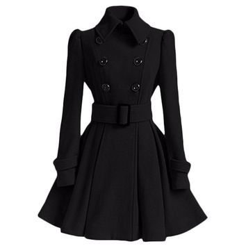 Winter Coat Women Europe Belt Buckle Turndown Collar Trench Coat Female Double Breasted Coat Casual Long Sleeve Dress Coats XXL