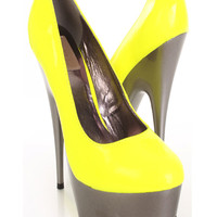 Neon Yellow Patent Faux Leather Contrast Platform Pump Heels