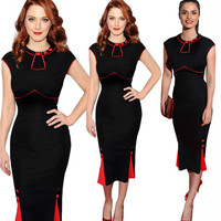 Summer Party dresses  Women Workwear Bodycon Dress Elegant OL Short Sleeve O Neck Package Hip Business Slim Dresses Vestidos