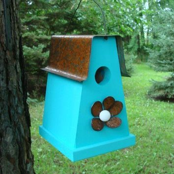 Rustic Blue Birdhouse Reclaimed Recycled Industial Home and Garden Cottage Chic