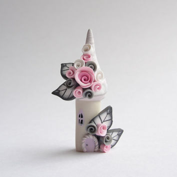 Pink and grey polymer clay fairy house home by fizzyclaret on Etsy