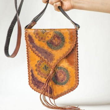Tooled Leather Bag Slim – Boho Genuine Leather Cross Body Bag 70s – Hand Painted Bag Tan - Summer Hippie Purse Tassel –Handmade Shoulder Bag