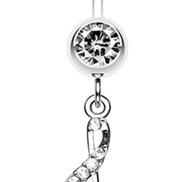 G Clef Music Note Sparkle Belly Button Ring