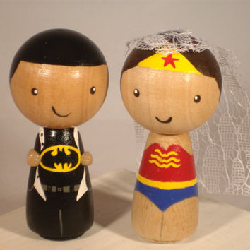 Superhero Wedding Cake Topper Kokeshi Wonder Woman Superman