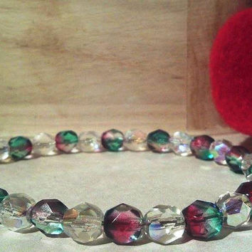 Sterling Silver Emerald and Red Fire Polished Czech Glass Beaded Bracelet