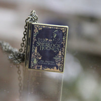 Sherlock Holmes book locket w/ chain large by sparklelab on Etsy