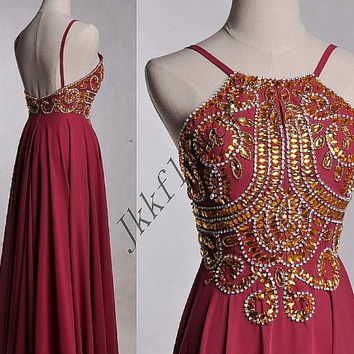 Long Burgundy Backless Prom Dresses,Beaded Crystal Prom Dresses,Chiffon Evening Dresses,Bridesmaid Dresses,Homecoming Dresses