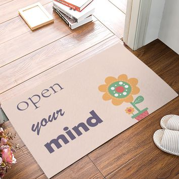 Autumn Fall welcome door mat doormat Open Your Mind - Small Potted Plant Sunflower s Kitchen Floor Bath Entrance Rug Mat Absorbent Indoor AT_76_7