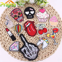 1PCS Unicorn Skull Patch Rainbow Iron On Cartoon Patches Kids Cheap Embroidered Cute Patches For Clothing Fruit Emoji Patch Food
