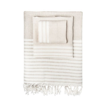 Linen-Blend Honeycomb Stripe Turkish Peshtemal Towel
