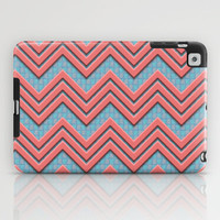 Coral Chevrons on Teal/Coral Background iPad Case by Lyle Hatch