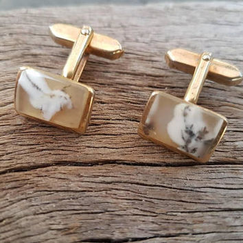 Vintage Smartset Cufflinks , Moss Agate , Gold Tone , Gifts For Him , Mens Accessories