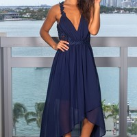 Navy High Low Dress with Crochet Cut Outs