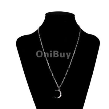 Charm Necklace Half Moon Crescent Necklace Pendant Chain Jewelry Gift Silver