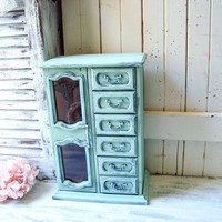 Shabby Chic Mint Musical Vintage Jewelry Box, Rustic Green Jewelry Holder, Cottage Chic Green Jewelry Box, Gift Ideas Painted Jewelry Box