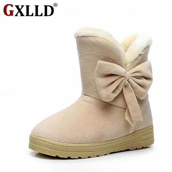 Women winter fashion solid snow ankle boots warm casual shoes