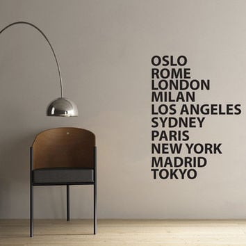 Wall Vinyl Sticker Decals Decor Art Bedroom Design Mural Words Sign Quote city towns list oslo rome tokyo paris (z867)