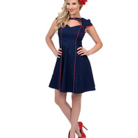 Navy Gil Stretch Fit N Flare Dress