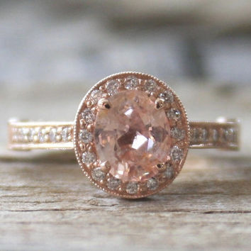 GIA Certified 1.40 Ct. Oval Peach Champagne Sapphire Diamond Halo Ring in 14K Rose Gold