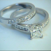 2.80ct Princess Diamond Engagement Wedding Rings set Diamond 18kt White Gold JEWELFORME BLUE