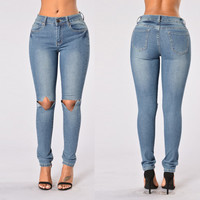 Mid-Waist Gradient Blue Ripped Jeans 22133