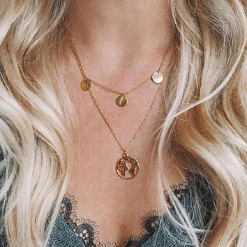 Bohemia Retro Gold Silver Hollow World Map Round Pendant Multilayer Necklace Girl Charm Gift Set Summer Beach Accessories