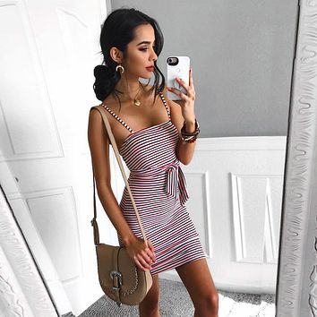 Strap Backless Mini Summer Dress Women Sexy Off Shoulder Lace Up Stripe Dress Female Streetwear Beach Dress Vestidos Robe