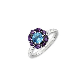 Sterling Silver Stackable Amethyst & Topaz Gemstone Flower Ring