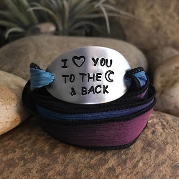 I love you to the moon and back silk wrap bracelet, Christmas surprise gifts for your loved ones, graduation gift, gifts for your children