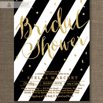 Black & Gold Bridal Shower Invitation Black and White Stripe Glitter Metallic Sparkly Glam Modern Printable Digital or Printed- Stella Style