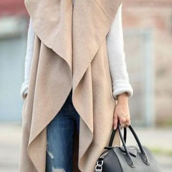 Khaki Irregular Irregular V-neck Sleeveless Fashion Cardigan Cape