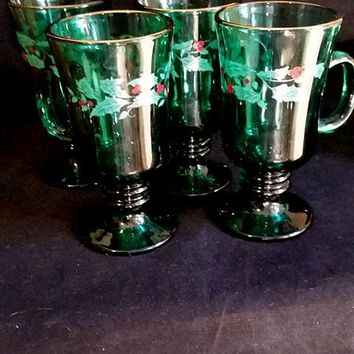 4 Kelly Green Irish Mugs with Holly Pattern by Libbey